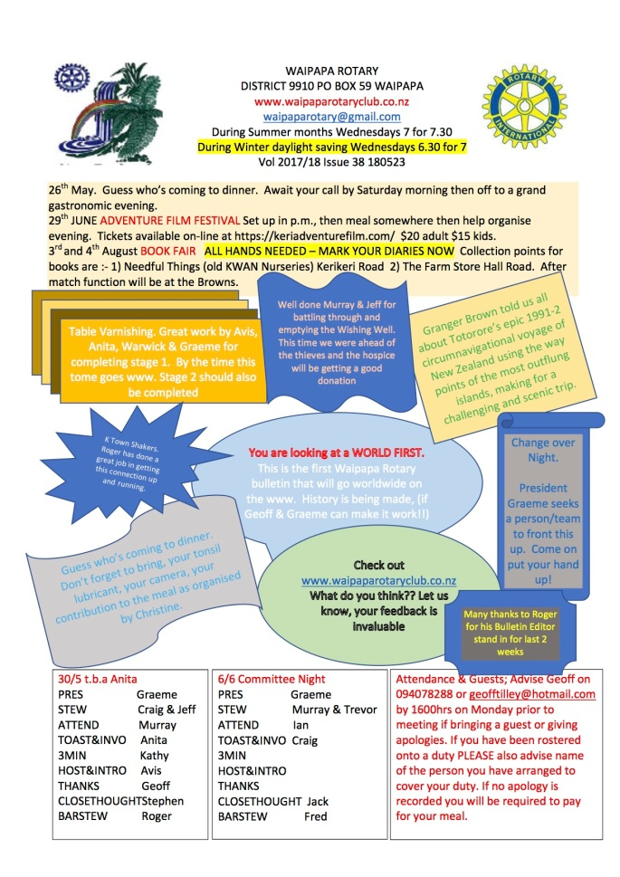 180523 Waipapa Rotary Bulletin