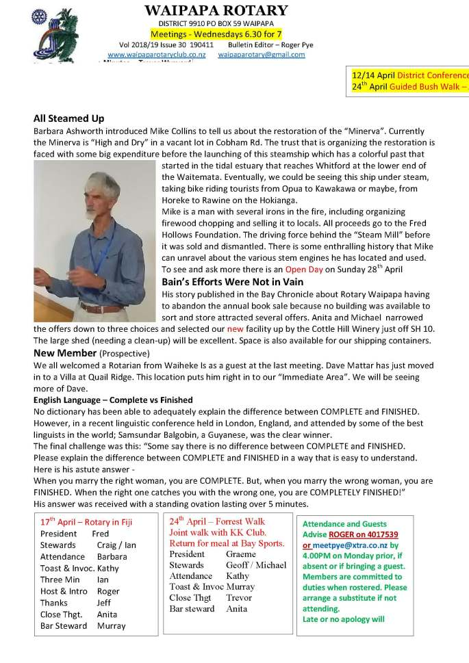Bulletin 10 Apr 19